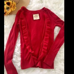 Hollister red cardigan sweater